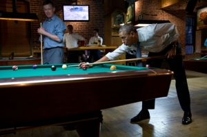picture of Barack Obama playing pool